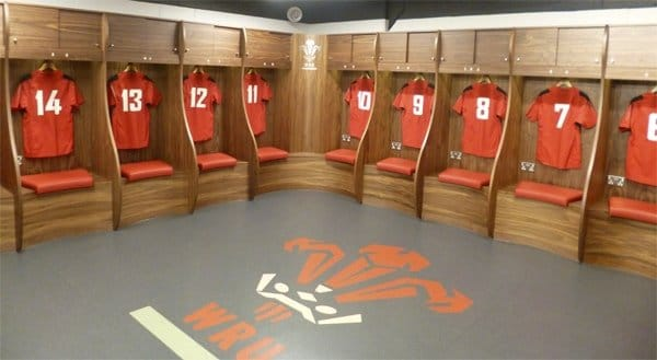 The changing rooms in the Principality Stadium