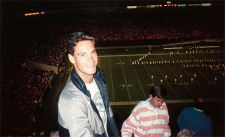 At an American Football game in the old Joe Robbie Stadium