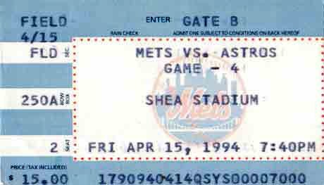 Shea Stadium baseball game ticket