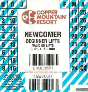 The ski pass I received in Copper Mountain