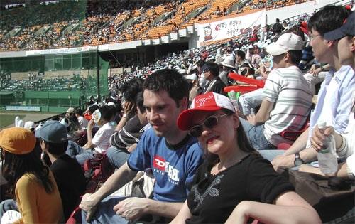 At an LG Twins baseball game in Seoul, South Korea